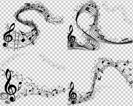 nota musical: Conjunto de 4 fondos musicales con fondo transparente
