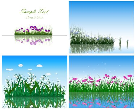 butterfly flower: Set of 4 Grass on Water backgrounds. Illustration