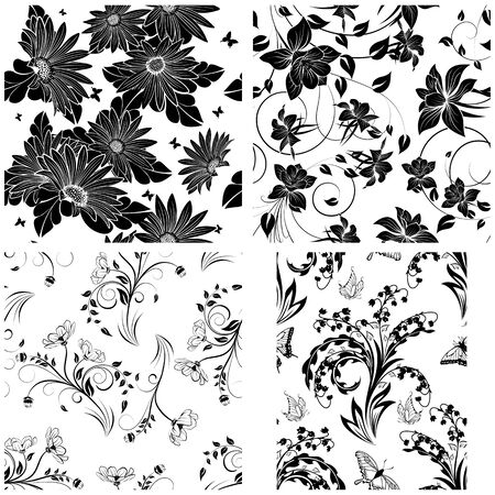 antique background: Set of 4 Floral Seamless Patterns design