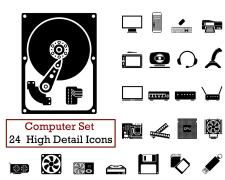 lcd monitor printer: Set of 24 Computer Icons in Black Color. Illustration
