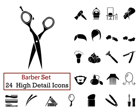 Set of 24 Barber Icons in Black Color.