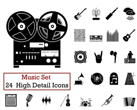 Set of 24 Music Icons in Black Color.
