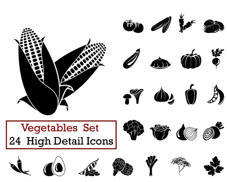 maize: Set of 24 Vegetables Icons in Black Color.
