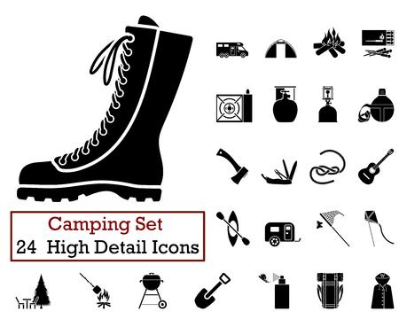 travel burner: Set of 24 Camping Icons in Black Color. Illustration