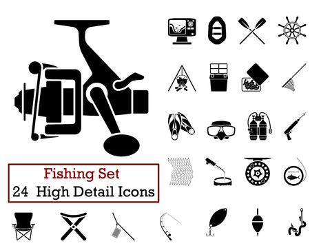 redes de pesca: Conjunto de 24 iconos de pesca en color Negro. Vectores