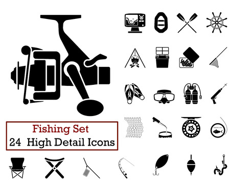 fishing bait: Set of 24 Fishing Icons in Black Color.