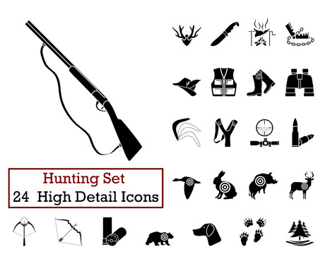 hat with feather: Set of 24 Hunting Icons in Black Color.