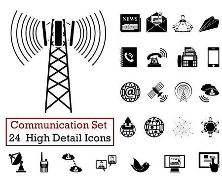 base: Set of 24 Communication Icons in Black Color.