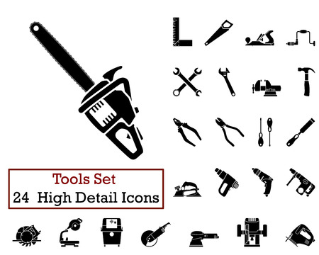 power tool: Set of 24 Tools Icons in Black Color.