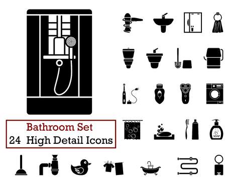 water icon: Set of 24 Bathroom Icons in Black Color.