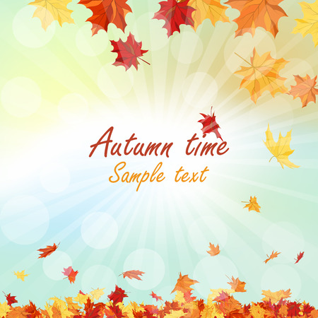 Marco del otoño con las hojas que caen de arce en el fondo del cielo