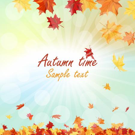 otoñales: Marco del otoño con las hojas que caen de arce en el fondo del cielo Vectores