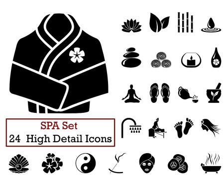Set von 24 Icons SPA in schwarzer Farbe.