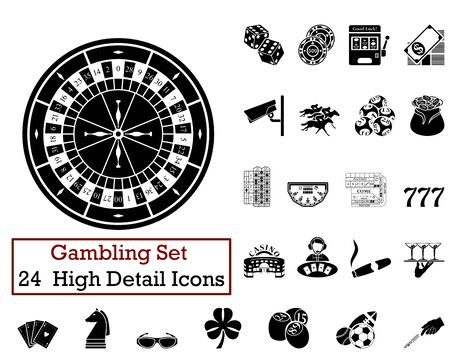 racing wheel: Set of 24 Gambling Icons in Black Color. Illustration