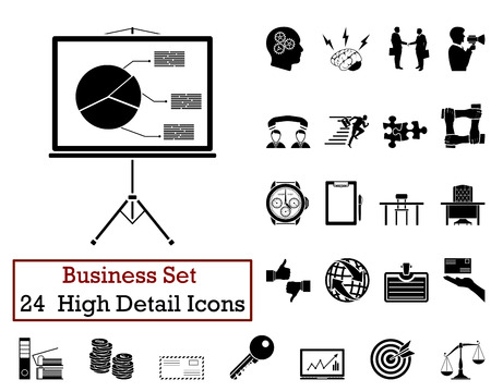 business meeting computer: Set of 24 Business Icons in Black Color. Illustration