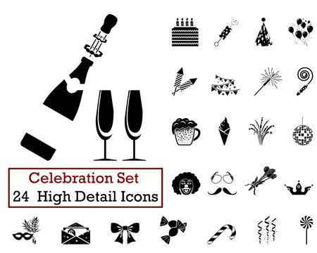 célébration: Set de 24 icônes de fête en couleur noire. Illustration