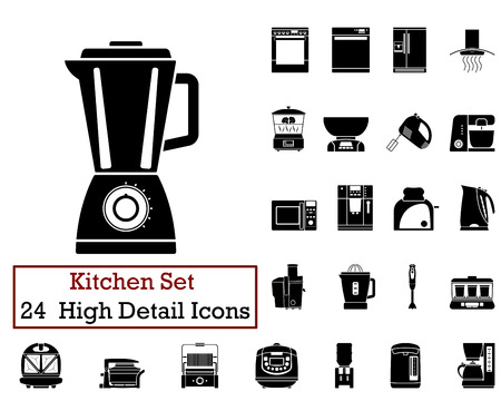 Set of 24 Kitchen Icons in Black Color. Illustration