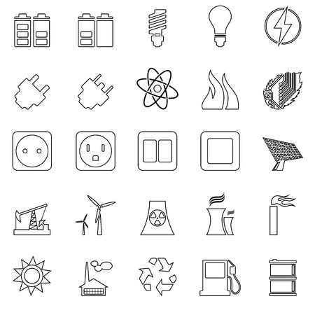 icon set: Electricity, Power and Energy Icon Set in Thin Line Design.