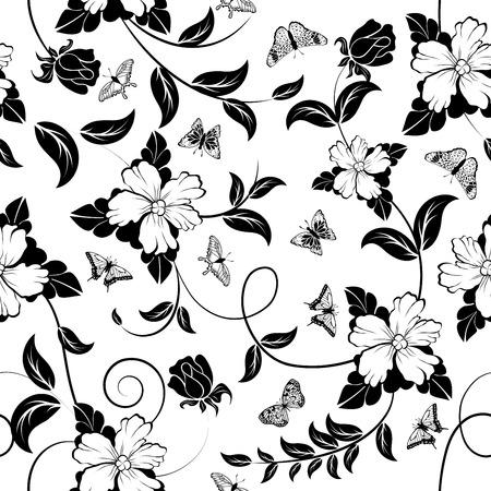 motif floral: Seamless orner floral en noir et blanc