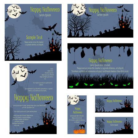 grunge background texture: Invitation Card Set With Happy Halloween Design.