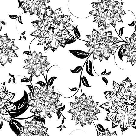 verschnörkelt: Seamless floral verzierten Muster in schwarzen und weißen Farben