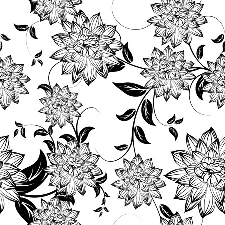 Seamless floral ornate  pattern in Black and White Colors