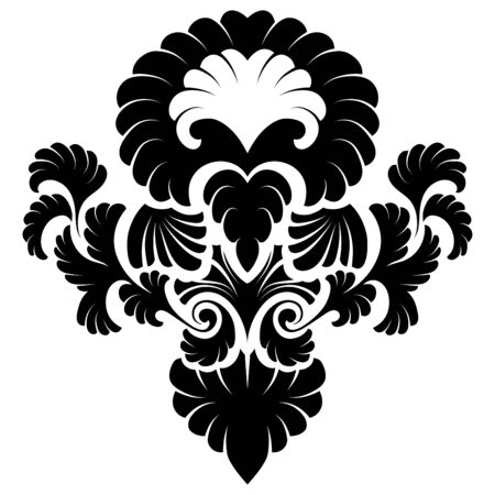 renaissance: Emblem in Damask Style Over White Background