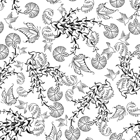 butterfly background: Seamless floral ornate  pattern in Black and White Colors