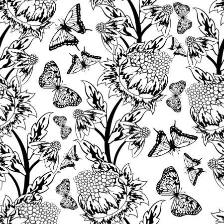 fondo blanco y negro: Modelo inconsútil adornado de flores en blanco y negro Colores