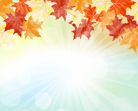Autumn  Frame With Falling  Maple Leaves on Sky Background. Elegant Design with Rays of Sun and Ideal Balanced Colors. Vector Illustration. Vettoriali