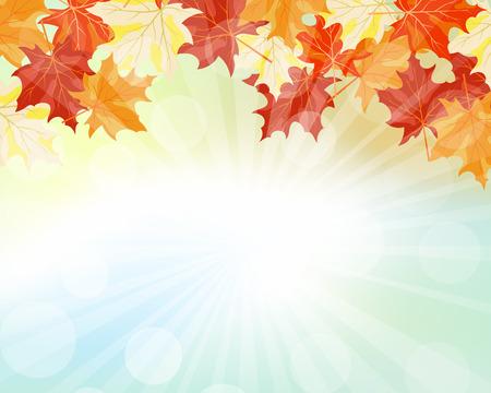 Herfst Frame Met Vallende Bladeren van de Esdoorn op Sky achtergrond. Elegant ontwerp met stralen van de zon en Ideal Balanced Kleuren. Vector Illustratie.