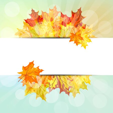 balanced: Autumn  Frame With Falling  Maple Leaves on Sky Background. Elegant Design with Rays of Sun and Ideal Balanced Colors. Vector Illustration. Illustration