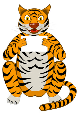 happy young: Funny Cartoon Character Tiger Sitting  on a Floor and Holding White Sheet in Hands Over White Background. Hand Drawn in Front View Elegant Cute Design. Vector illustration.