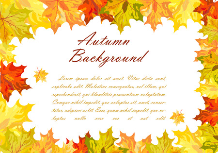 balanced: Autumn  Frame With Falling  Maple Leaves on White Background. Elegant Design with Text Space and Ideal Balanced Colors. Vector Illustration. Vectores