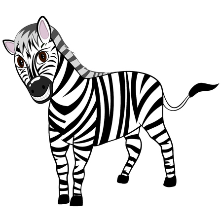 wide: Funny Cartoon Character Zebra With Wide Smile Over White Background.  Hand Drawn in Perspective Elegant Cute Design. Tropical and Zoo  Fauna. Vector illustration. Illustration