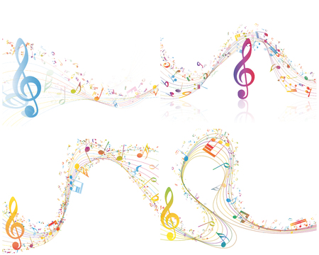 pentagrama musical: Conjunto de elementos de diseño musical personal de la música Con Clave de sol y notas en multicolor estilo con transparencia. Diseño elegante creativo con las sombras aisladas en blanco. Ilustración del vector.