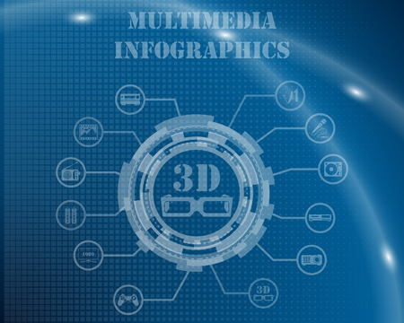 multimedia background: Multimedia Infographic Template From Technological Gear Sign, Lines and Icons. Elegant Design With Transparency on Blue Checkered Background With Light Lines and Flash on It. Vector Illustration. Illustration
