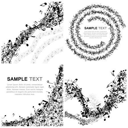 bass: Set of Musical Design Elements From Music Staff With Treble Clef And Notes in Black and White Colors. Elegant Creative Design With Shadows Isolated on White. Vector Illustration.
