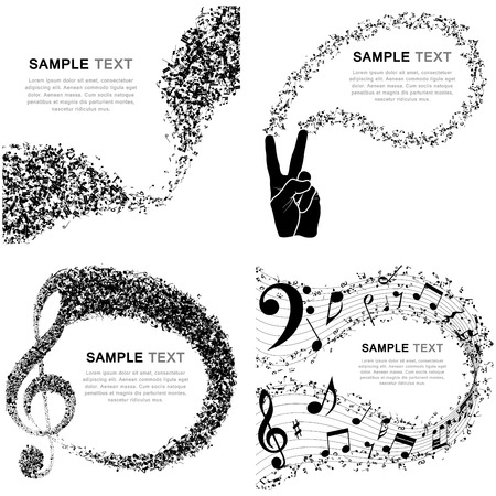 grunge music background: Set of Musical Design Elements From Music Staff With Treble Clef And Notes in Black and White Colors. Elegant Creative Design Isolated on White. Vector Illustration.