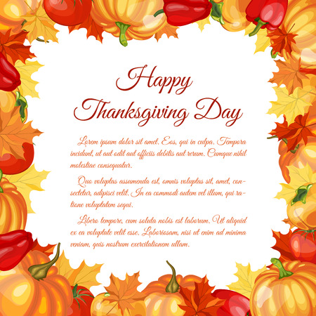 pumpkin border: Thanksgiving Day Greeting Card With Text Space