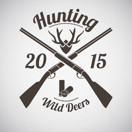 hunting: Hunting Vintage Emblem with Cross Hunting Gun Illustration