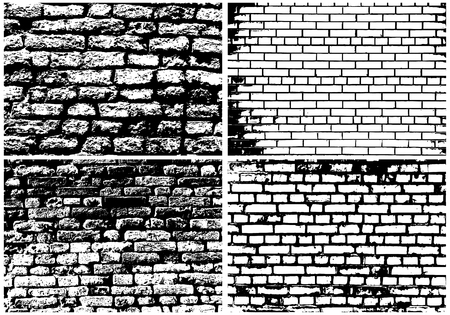 stone wall: Set of Abstract Grunge Brick Wall Backgrounds in Black and White Colors