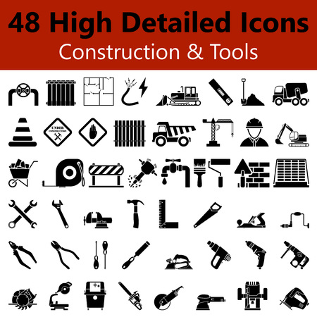 builder: Set of High Detailed Construction and Tools Smooth Icons in Black Colors Illustration