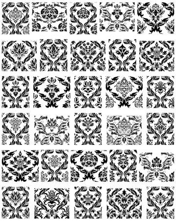 patterns vector: Set of Thirty Damask Seamless Vector Patterns Illustration