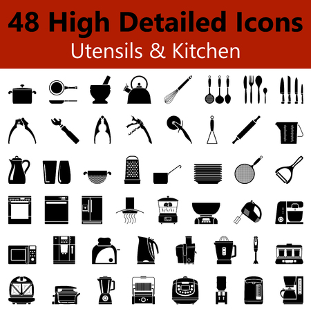Set of High Detailed Utensils and Kitchen Smooth Icons in Black Colors