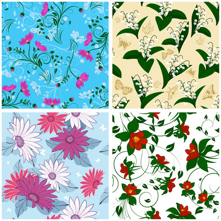 plant design: Floral Seamless Pattern Set Illustration