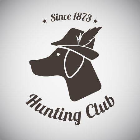 perro de caza: Caza de la vendimia Emblema Vectores