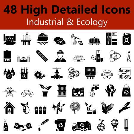 electricidad industrial: Conjunto de detalladas Altas iconos liso Industriales y Ecología en colores negros Vectores
