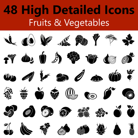 cherries isolated: Set of High Detailed Fruits and Vegetables Smooth Icons in Black Colors