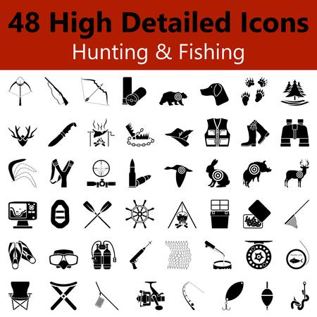 Ensemble de haut Chasse et pêche détaillées Icônes lisses dans les couleurs noir